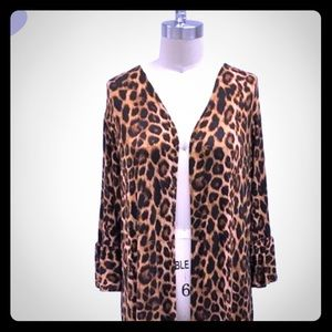 Leopard print ankle length cardigan / duster